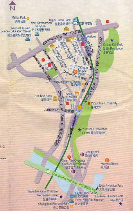 Shi Lin Shopping Area Map - Taipei, Taiwan