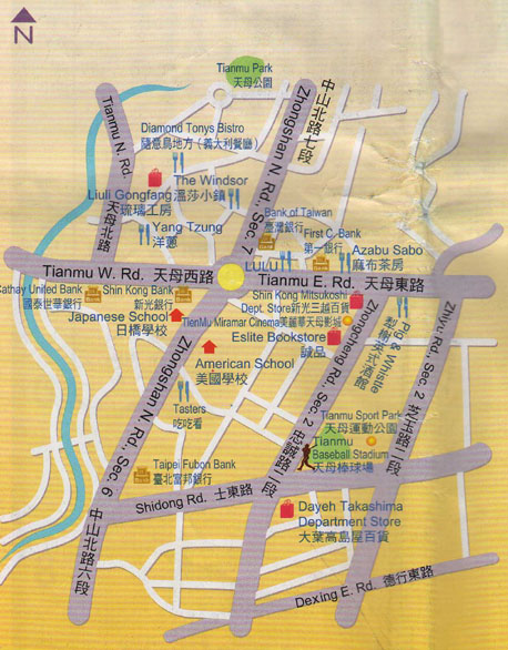 Tianmu shopping area Map, Taipei Taiwan