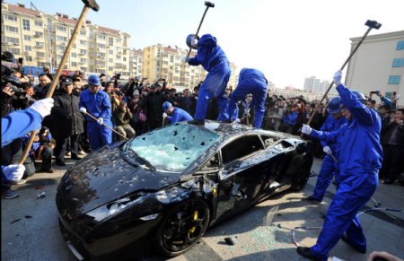 Unreliable Lamborghini Gallardo destroyed in Qingdao china by millionaire